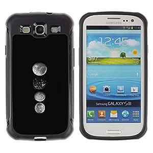 WAWU Funda Carcasa Bumper con Absorci??e Impactos y Anti-Ara??s Espalda Slim Rugged Armor -- moon art lineup space black white -- Samsung Galaxy S3 I9300