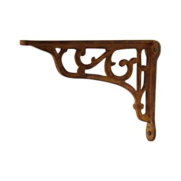 rch hardware fancy decorative wrought iron shelf bracket rust finish matching screws included