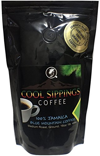 Jamaica Blue Mountain Coffee,100%,16 oz/1 lb, Ground, Freshly Roasted - Cool Sippings Coffee