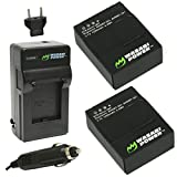 Wasabi Power Battery (2-Pack) and Charger for GoPro HERO3+ - HERO3 and GoPro AHDBT-201 - AHDBT-301 - AHDBT-302