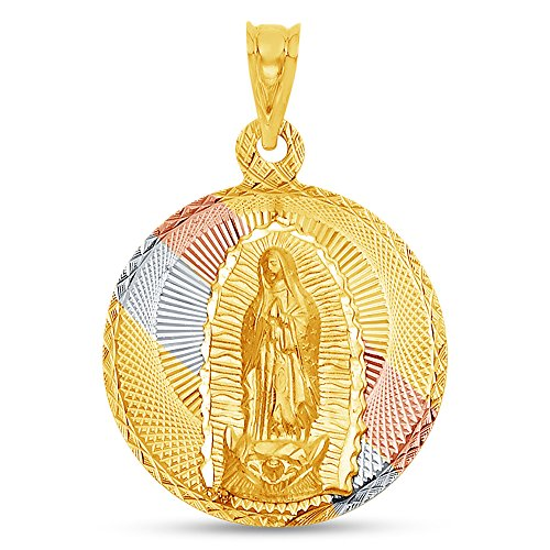 Sonia Jewels 14K Tri 3 Color Gold Diamond-Cut Religious Our Lady of Guadalupe Virgin Mary Charm Pendant (32x27 mm)