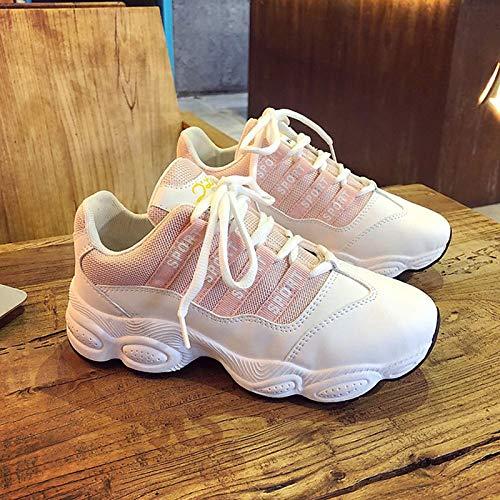 Sneakers Punta Comfort Pink tonda piatto Scarpe Tacco Bianco PU Rosa poliuretano Nero ZHZNVX da donna Summer nPg0vPCwq
