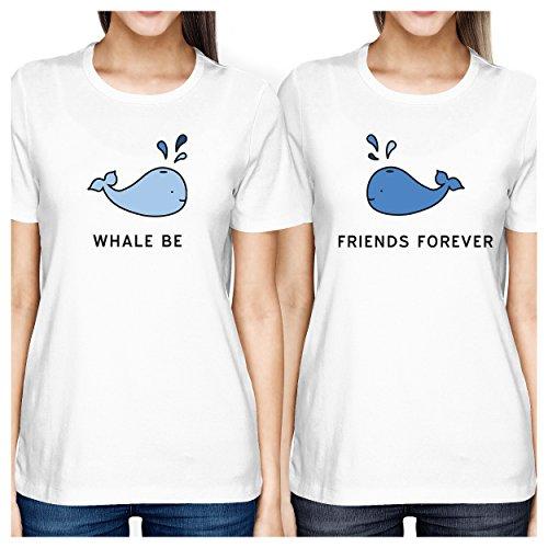 Be Camiseta Bff mujer corta manga juego para One a Talla Friend de Blanco Whale 365 Printing pq5Fv