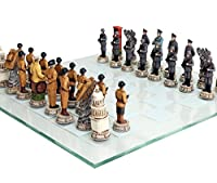 World War 2 Themed Chess Set US vs Germany Hand Painted with Glass Board