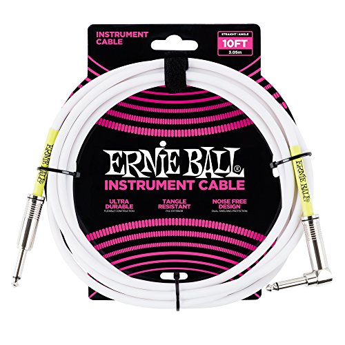 Ernie Ball 10' Straight/Angle Instrument Cable - White by Ernie Ball