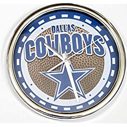 Dallas Cowboys, Large Chrome Wall Clock. Ideal for Family Room, Man cave or Office Decor.