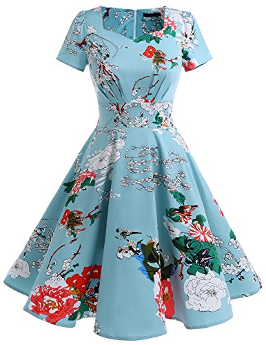 Dresstells Vintage 1950s Solid Color Prom Dresses Short Sleeved Retro Audery Swing Dress Floral (Can Can Dress)