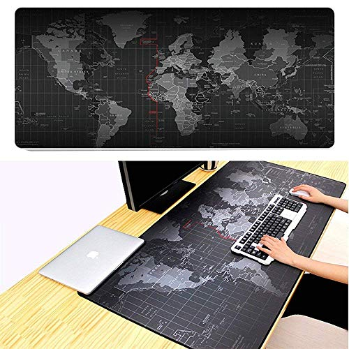 Gaming Mouse Pad Mat Large Jestar World Map Extended XXL 800mmX300mm Computer Game Mousepad Stitched Edges Non-Slip Smooth Operating for Laptop Desktop Computer Keboard and Mouse