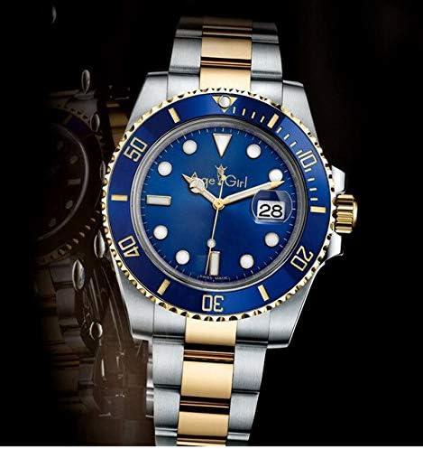 SANLUX 高級ブランド新男性自動機械式ゴールド黒、緑、青ステンレス鋼セラミックスポーツクラシック腕時計 aaa + SilverGoldBlue