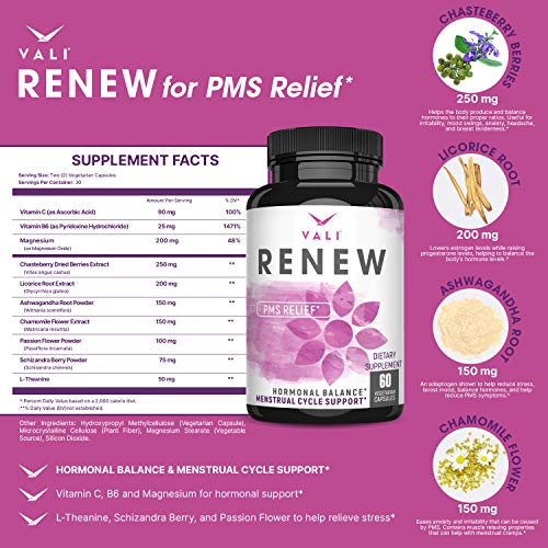 PMS Relief Supplement Premenstrual Cycle Support - 60 Veggie Capsules. Herbal Formula Complex with Vitamins for Menstrual Cramp & Period Pain Relief, Women's Health Natural Hormone Balance Pills