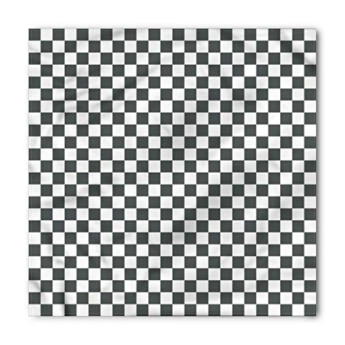 Ambesonne Unisex Bandana, Checkered Classical Chessboard, White Grey