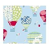 York Wallcoverings YS9193 Peek-A-Boo Hot Air Balloon Wallpaper, Powder Blue/Red/Lime Green/Teal/Yellow/White