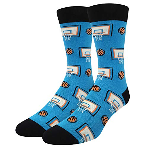 Happypop Men's Novelty Funny Sports Crew Socks, Funky Cool Basketball Slam Dunk Socks