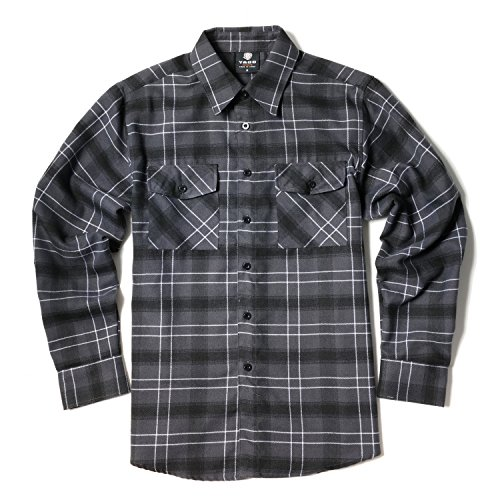 YAGO Men's Long Sleeve Flannel Plaid Button Down Shirt YG2508 (Charcoal/Black, Small)