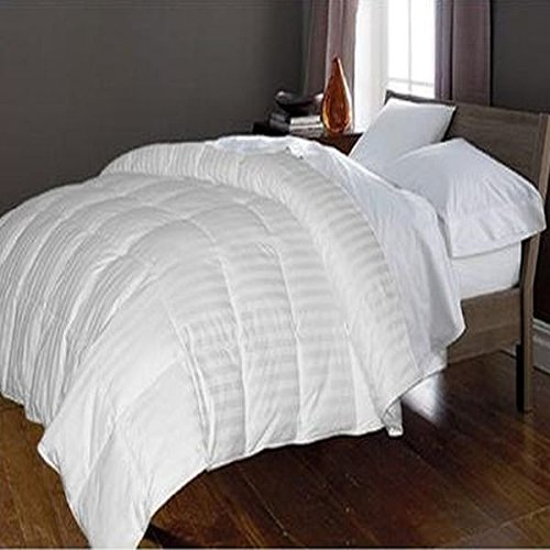 Royal Luxe Unisex Damask Stripe White Goose Down/White Goose Feather Comforter-Full/Queen White