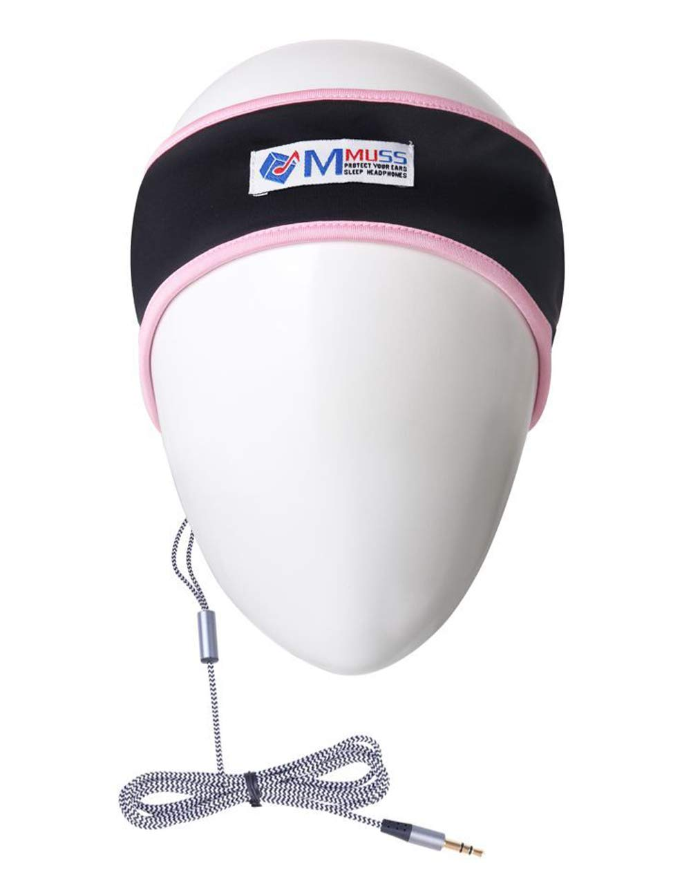 MMUSS Sleep Headphones Stereo Headband with Ultra Thin Speakers.Perfect for Side Sleeper,Sports,Air Travel,Meditation and Relaxation (Pink2)
