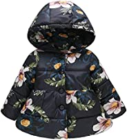 Willsa Baby Girls Jacket, Floral Thick Warm Jacket Hooded Windproof Coat