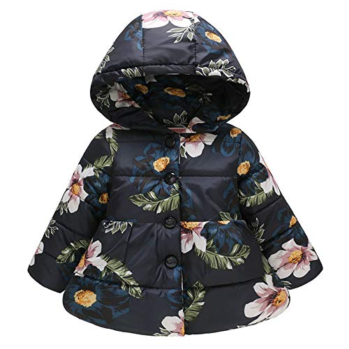 MOONHOUSE Toddler Kids Baby Girl Coat,Christmas Floral Printed Winter Hooded Warm Jacket Windproof Coat Party Outfits (12-18 Months, Black)
