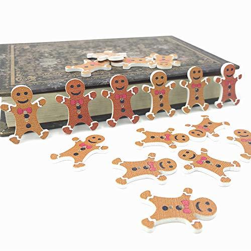 Maslin DIY 100pcs Christmas Gingerbread Man Wooden Buttons Decoration Festival Scrapbooking 30mm ()