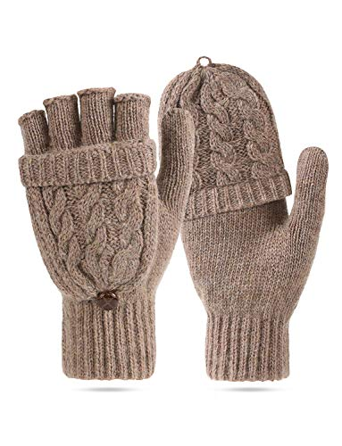 Women's Winter Gloves Warm Wool Knitted Convertible Fingerless Gloves with Mittens Cover Cap
