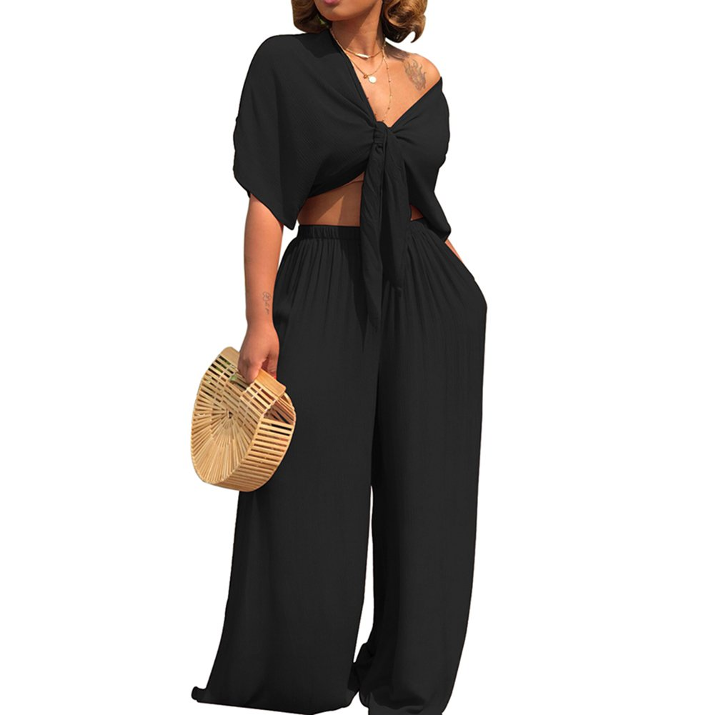 AEL Womens Sexy Tie Crop Top Wide Leg Long Pants 2 Piece Outfits Summer Short Sleeve Jumpsuits Set(Black,M)