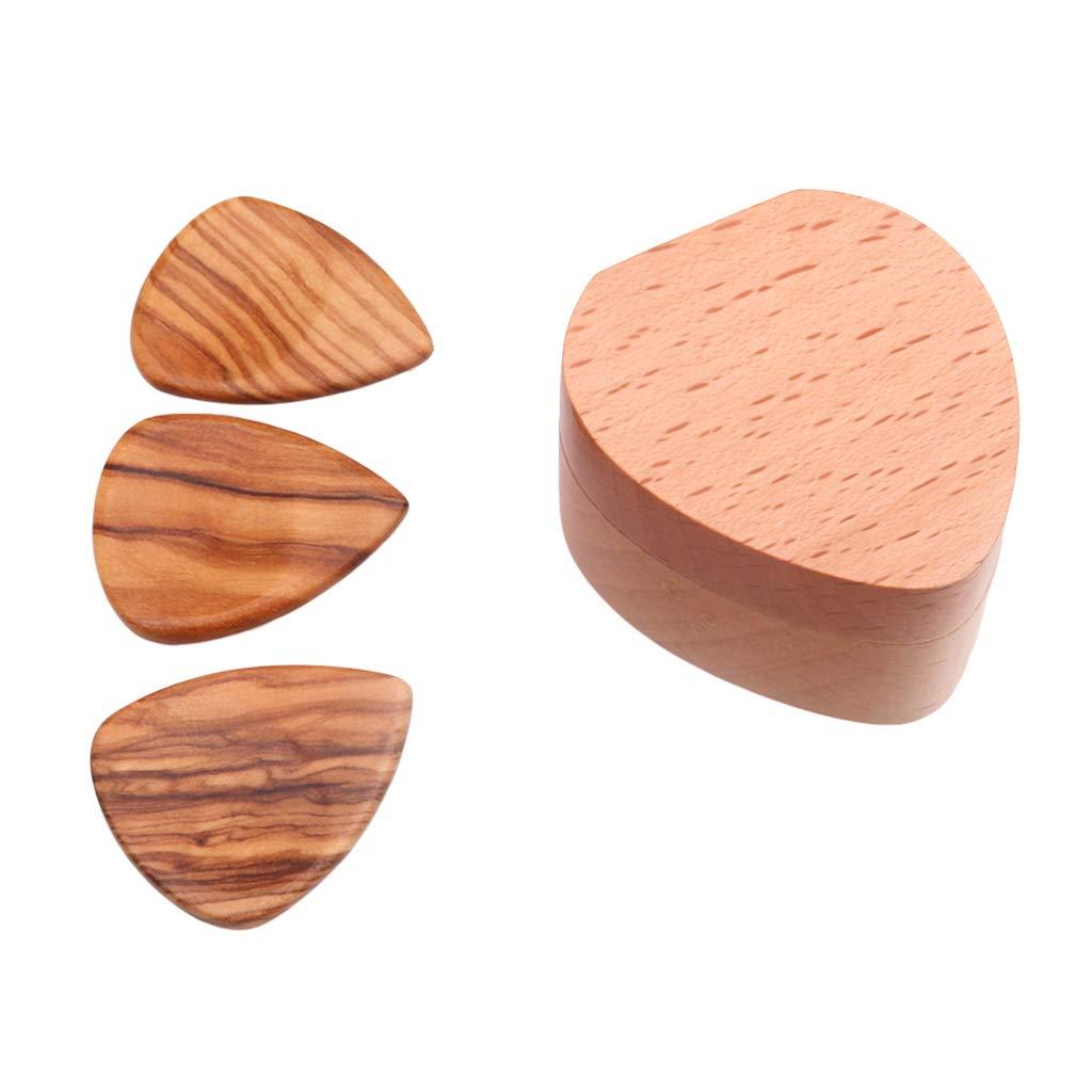 B Blesiya Caja de Madera para Guitarra con P/úas Plectrums para Amantes para Principiantes Producci/ón Instrumentos Musicales Palo de rosa