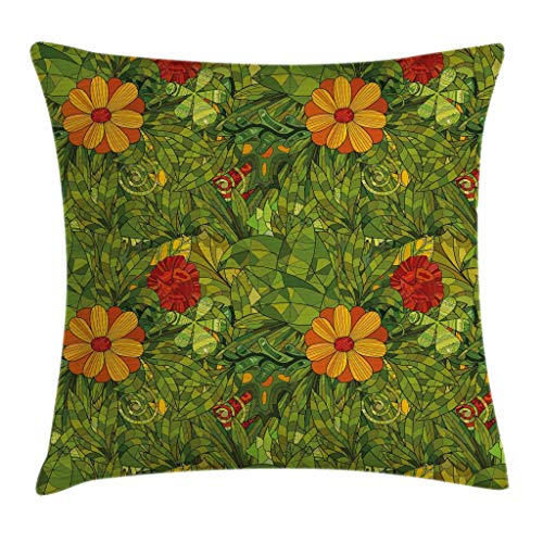 Ambesonne Floral Throw Pillow Cushion Cover, Funky Flower Foliage Bush with Fractal Retro Jungle Art Design, Decorative Square Accent Pillow Case, 18 X 18 Inches, Vermilion Marigold Olive Green