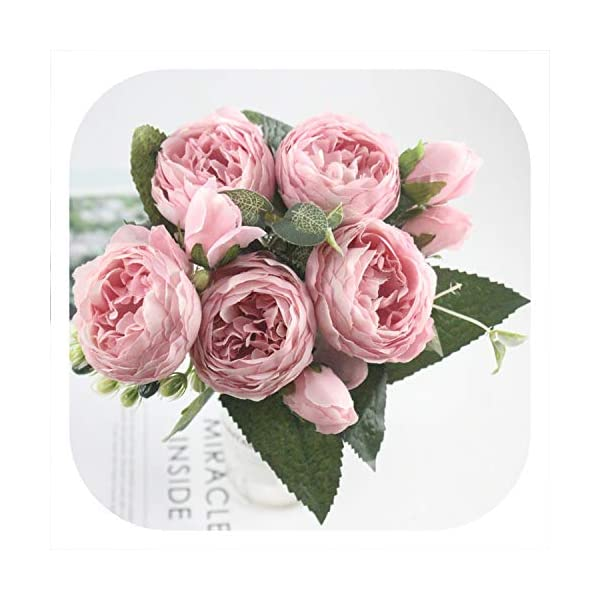 mamamoo 9 Head / 1PCS Beautiful Philippe Persian Rose Peony Rayon Spring Home Wedding Party Decoration Fake Flower Factory,Light Sand Pink