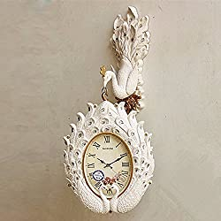 SSBY Chinese double-sided living room wall clock mute mute Peacock double sided creative clock wall clock movement is simple and modern clocks,b