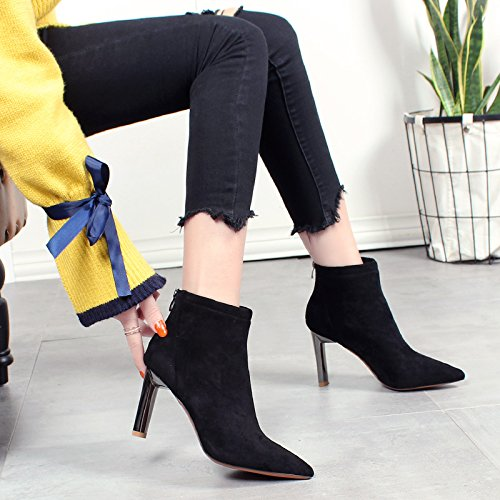 KHSKX-Weibliche Winterschuhe Spitzen Stiefeln Hochhackige Schuhe Wildleder Stiefel Mit Feinen Sexy Nackten Weiblichen Baumwolle black