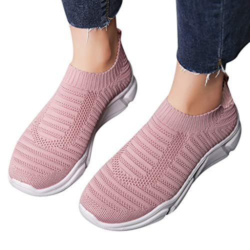 Women Solid Sport Shoes - POHOK Women's Ladies Mesh Breathable Ankle Slip On Flat Sport Running Shoes Sneakers(35,Pink) from POHOK