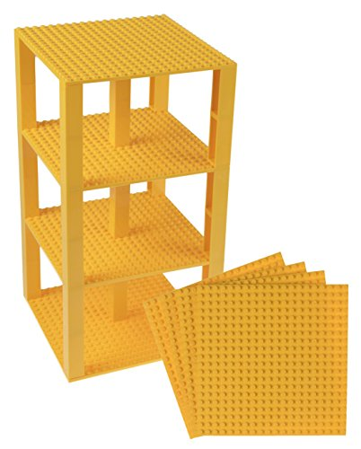 Strictly Briks Classic Baseplates 6 x 6 Brik Tower 100% Compatible with All Major Brands   Building Bricks for Towers and More   4 Yellow Stackable Base Plates & 30 Stackers