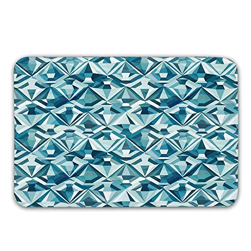 TecBillion Light Blue Front Door Mat,Abstract Polygonal Diamond Forms Up and Down Glamour Concept Tile Doormat for Inside or Outside,31.5