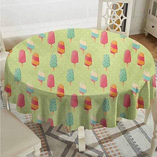 XXANS Custom Tablecloth,Ice Cream,Delicious Sweet Treats Colorful Summer Theme with Retro Influences Childhood,Party Decorations Table Cover Cloth,60 INCH,Multicolor