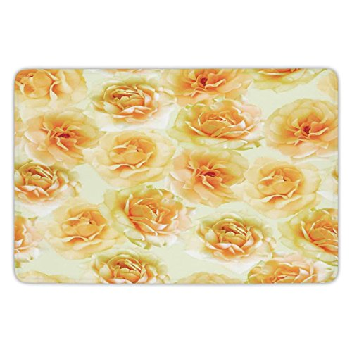 Yellow Carpet Rose - Bathroom Bath Rug Kitchen Floor Mat Carpet,Roses Decorations,Plenty of Natural Nostalgic Blossoms Bunch of Love for Amour Valentine Anniversary Theme,Yellow,Flannel Microfiber Non-slip Soft Absorbent