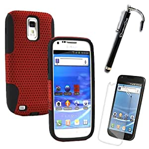 MINITURTLE Samsung Galaxy S2 Hercules T989 / SGH-T989 (T-mobile Version) Dual Layer Hybrid Mesh Shield Protector Cover Case with Bonus Screen Protective Film and Stylus Pen (Metallic Red and Black)