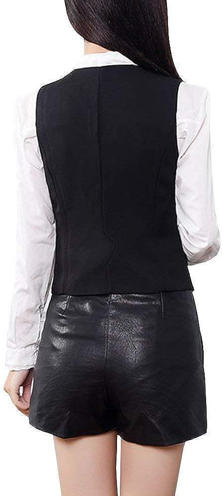 Mujer Blazer Oficina Elegantes Cortos Oeste Formal De Tubo Traje De Ocio Fashion Outwear V-Cuello Sin Mangas Camisa Verano Se/ñoras