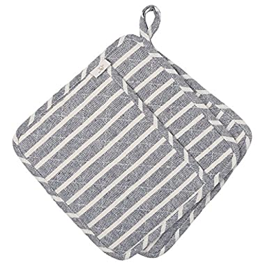 Neoviva Cotton Denim Quilted Heat Resistant Pot Mat with Pocket for Daily Kitchen, Set of 2, Woven Striped Wild Dove