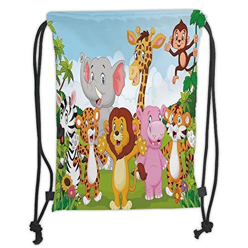 New Fashion Gym Drawstring Backpacks Bags,Nursery,Comic African Savannah Animals Playful Friendly Safari Jungle Happy Wildlife Nature Decorative,Multicolor Soft Satin,Adjustable S