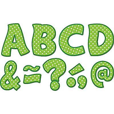"Teacher Created Resources Funtastic Font 3"" Magnetic Letters, Lime Polka Dots (77215.0) : Office Products"