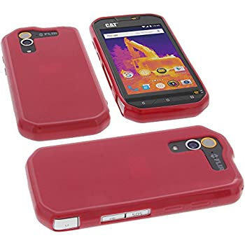 b063d46a29 foto-kontor Protective case for CAT S60 Rubber TPU Mobile Phone Cover red