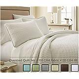 Southshore Fine Linens® 2 Piece Oversized Quilt Set - Bright White TWIN / TWIN XL