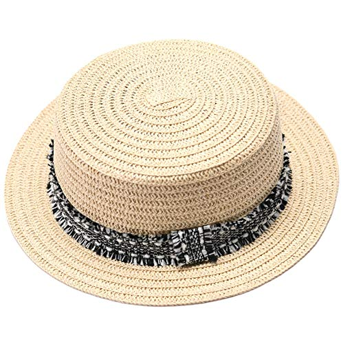 1b882a86a27 accsa Women s Straw Panama Hat Summer Beach Cap with Black and White Ribbon