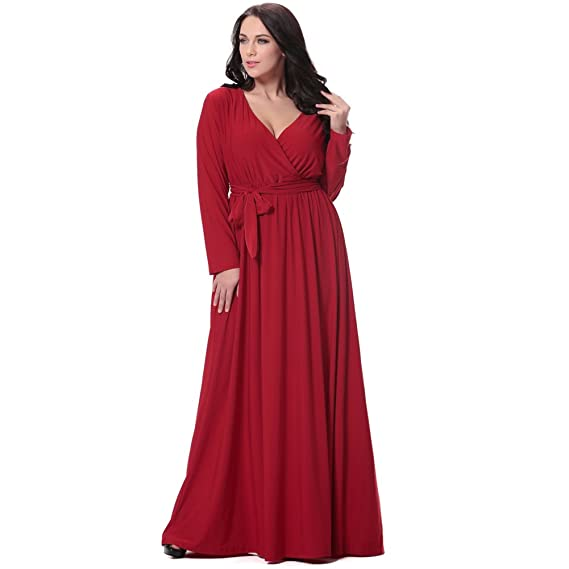fd5f1adfb4 Romacci Women Elegant Long Dress Plus Size V Neck Long Sleeve Maxi Dress  Solid Belted Cocktail Party Dress Swing Long Dress Red