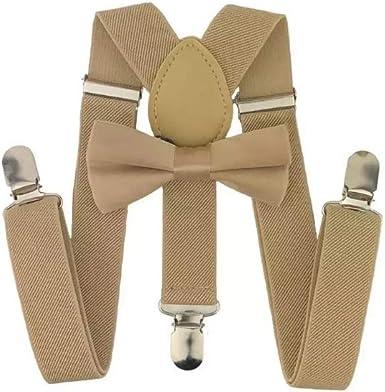 Beige bow tie and light beige suspenders Khaki bow-tie /& tan elastic suspender set