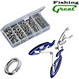 Greatfishing High Strength Heavy Stainless Steel Split Ring, Swivels, Lure Tackle Connector with Fishing Pliers Fishing Accessory