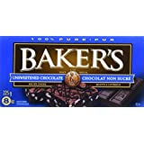 BAKER'S Chocolate Squares - Unsweetened 24 Pack, 225G Each