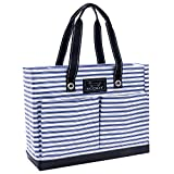 SCOUT Uptown Girl Medium Multi-Pocket Tote Bag, Water Resistant, Zips Closed, Stripe Right Review