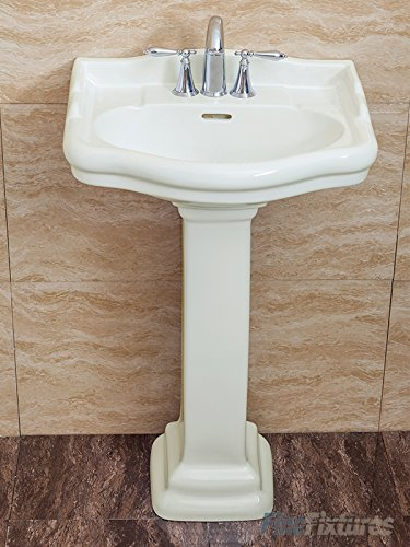 (Fine Fixtures, Roosevelt Biscuit Pedestal Sink - 22 Inch Vitreous China Ceramic Material (4 Inch Faucet Spread Hole))