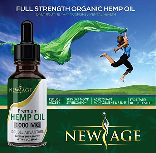 (2-Pack) Hemp Oil Extract for Pain, Anxiety & Stress Relief - 1000mg of Organic Hemp Extract - Grown & Made in USA - 100% Natural Hemp Drops - Helps with Sleep, Skin & Hair. by New Age (Image #3)